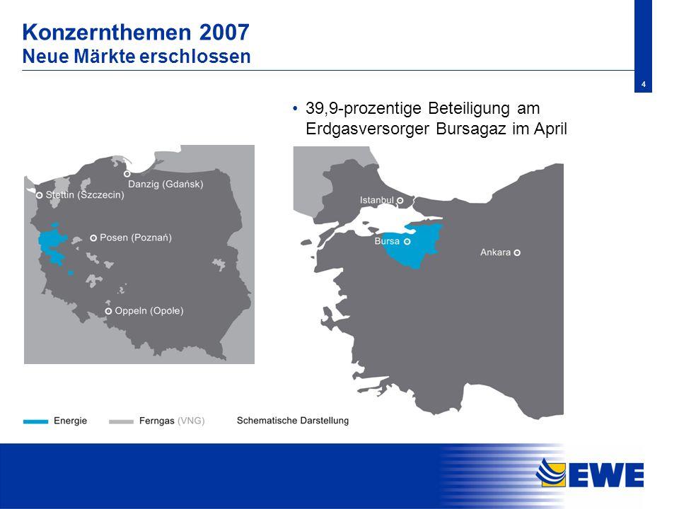 4 Konzernthemen 2007 Neue Märkte erschlossen 39,9-prozentige Beteiligung am Erdgasversorger Bursagaz im April