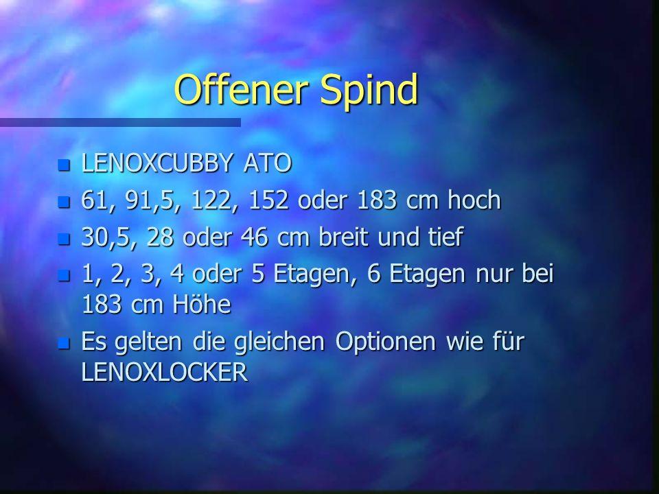 Offener Spind n LENOXCUBBY ATO n 61, 91,5, 122, 152 oder 183 cm hoch n 30,5, 28 oder 46 cm breit und tief n 1, 2, 3, 4 oder 5 Etagen, 6 Etagen nur bei