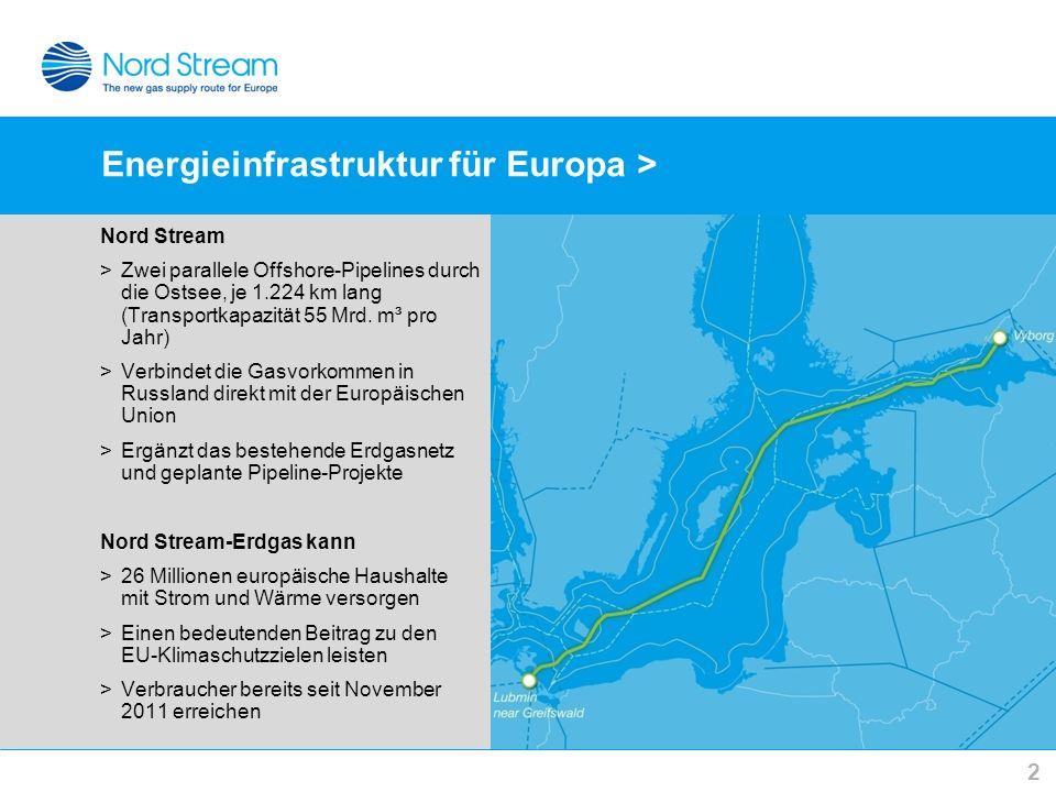 Energieinfrastruktur für Europa > 2 Nord Stream >Zwei parallele Offshore-Pipelines durch die Ostsee, je 1.224 km lang (Transportkapazität 55 Mrd. m³ p
