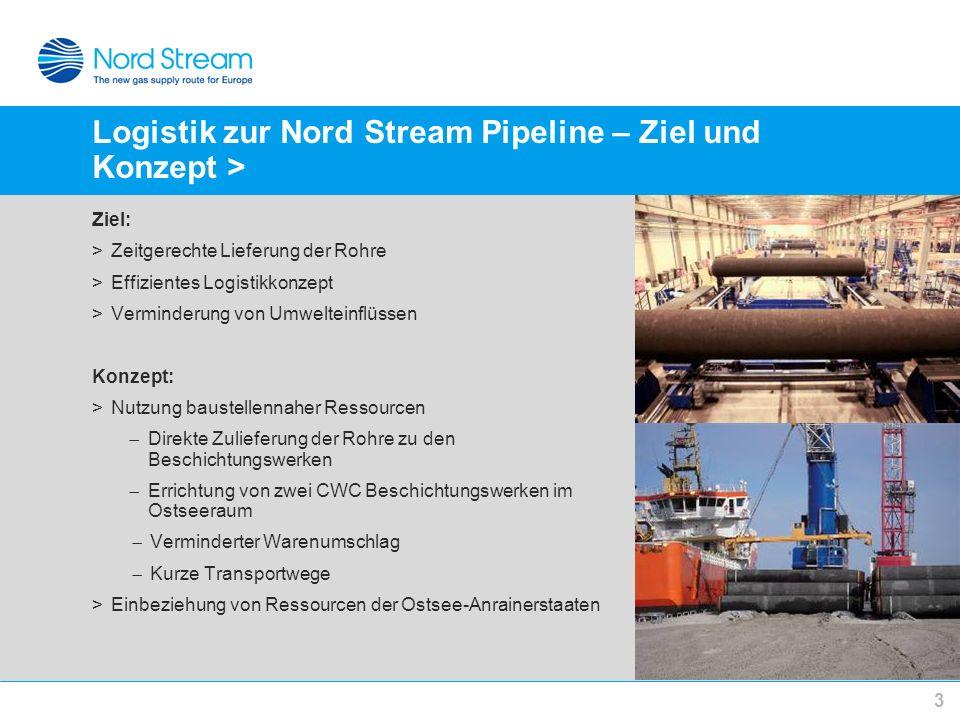 Logistik zur Nord Stream Pipeline – Ziel und Konzept > Ziel: >Zeitgerechte Lieferung der Rohre >Effizientes Logistikkonzept >Verminderung von Umweltei
