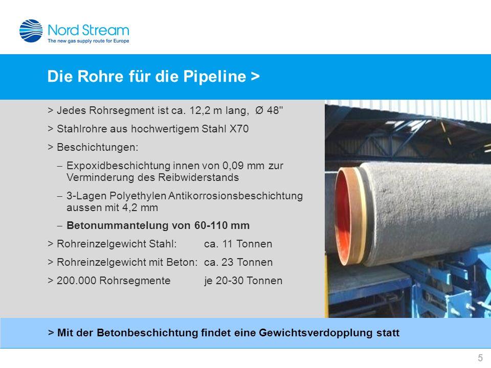 Die Rohre für die Pipeline > 5 >Jedes Rohrsegment ist ca. 12,2 m lang, Ø 48
