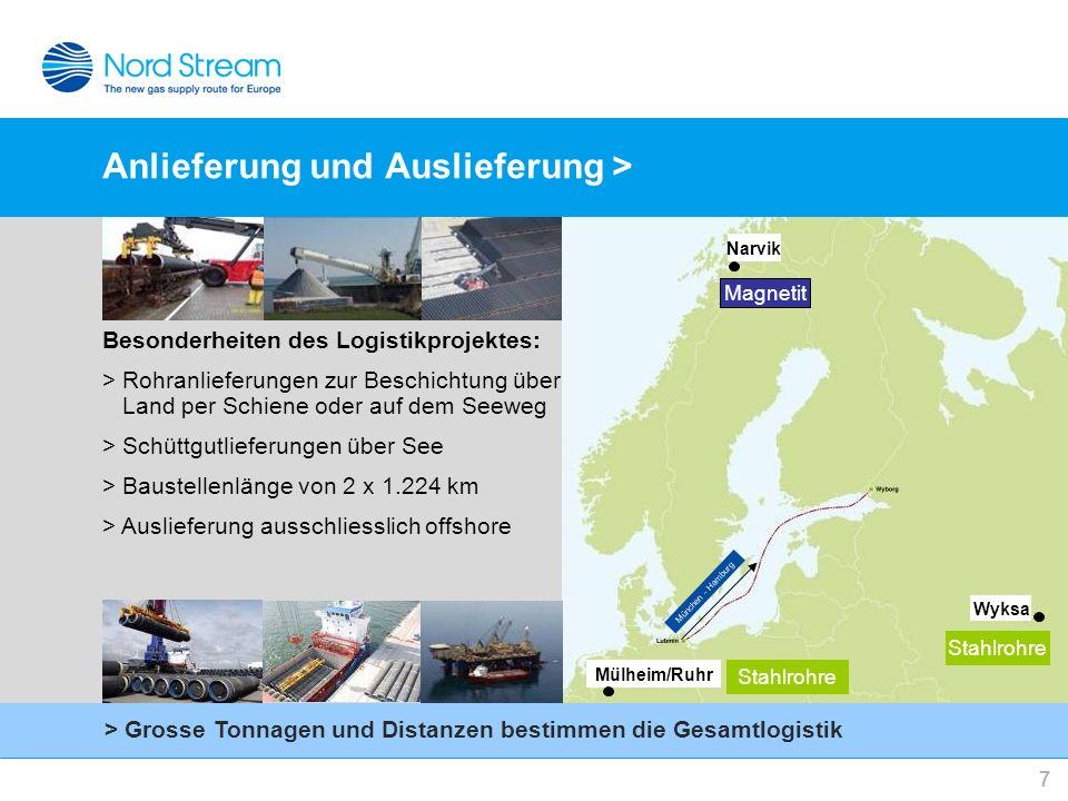 7 Anlieferung und Auslieferung > Besonderheiten des Logistikprojektes: > Rohranlieferungen zur Beschichtung über Land per Schiene oder auf dem Seeweg