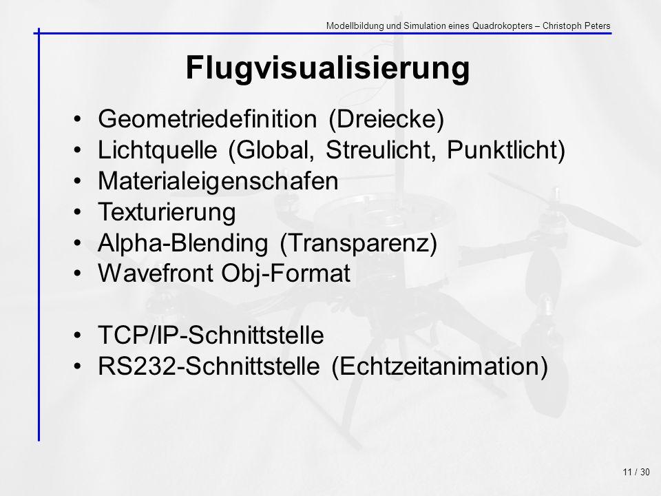 Flugvisualisierung Geometriedefinition (Dreiecke) Lichtquelle (Global, Streulicht, Punktlicht) Materialeigenschafen Texturierung Alpha-Blending (Trans