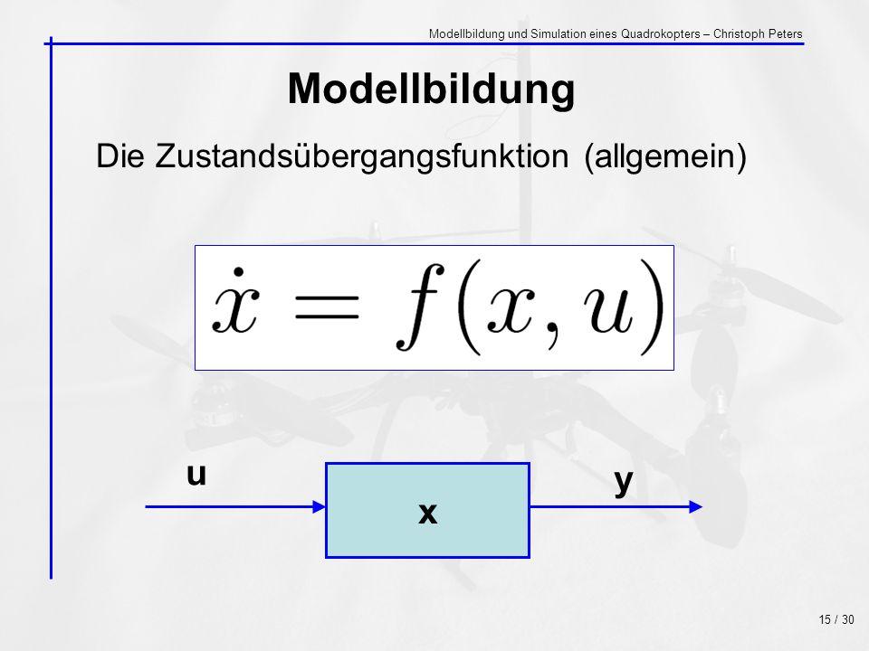 Die Zustandsübergangsfunktion (allgemein) Modellbildung x u y 15 / 30 Modellbildung und Simulation eines Quadrokopters – Christoph Peters