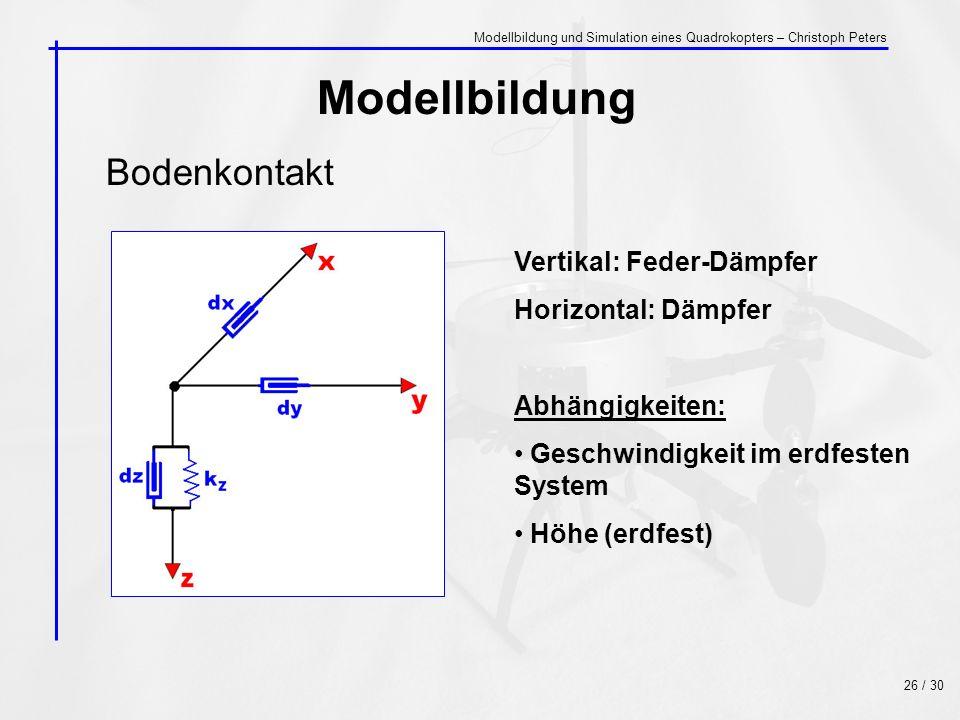 Bodenkontakt Modellbildung Vertikal: Feder-Dämpfer Horizontal: Dämpfer Abhängigkeiten: Geschwindigkeit im erdfesten System Höhe (erdfest) 26 / 30 Mode