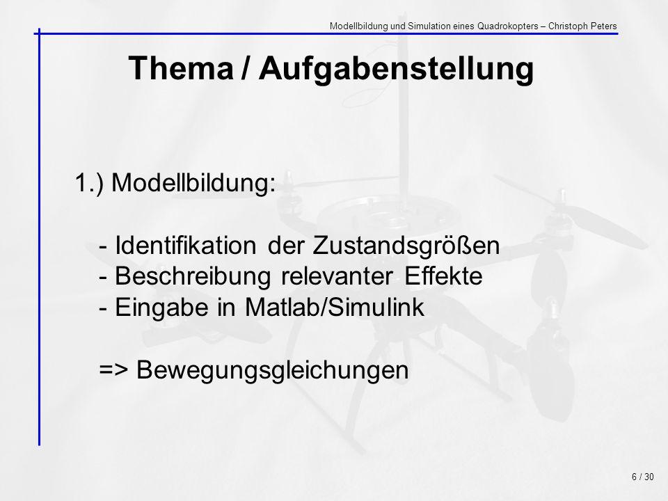 Thema / Aufgabenstellung 2.) Simulation: - Abgleich mit Messdaten der Realität - Test aller Freiheitsgrade - Visuelle Aufbereitung - Echtzeit 7 / 30 Modellbildung und Simulation eines Quadrokopters – Christoph Peters
