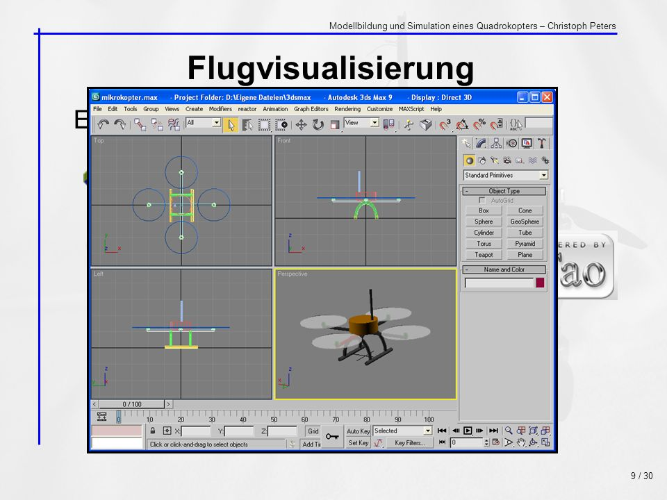 Flugvisualisierung Eingesetzte Entwicklungssoftware: mit C# + 9 / 30 Modellbildung und Simulation eines Quadrokopters – Christoph Peters