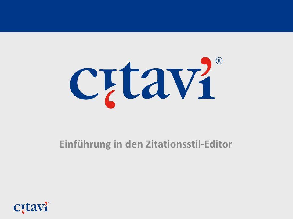 Einführung in den Zitationsstil-Editor