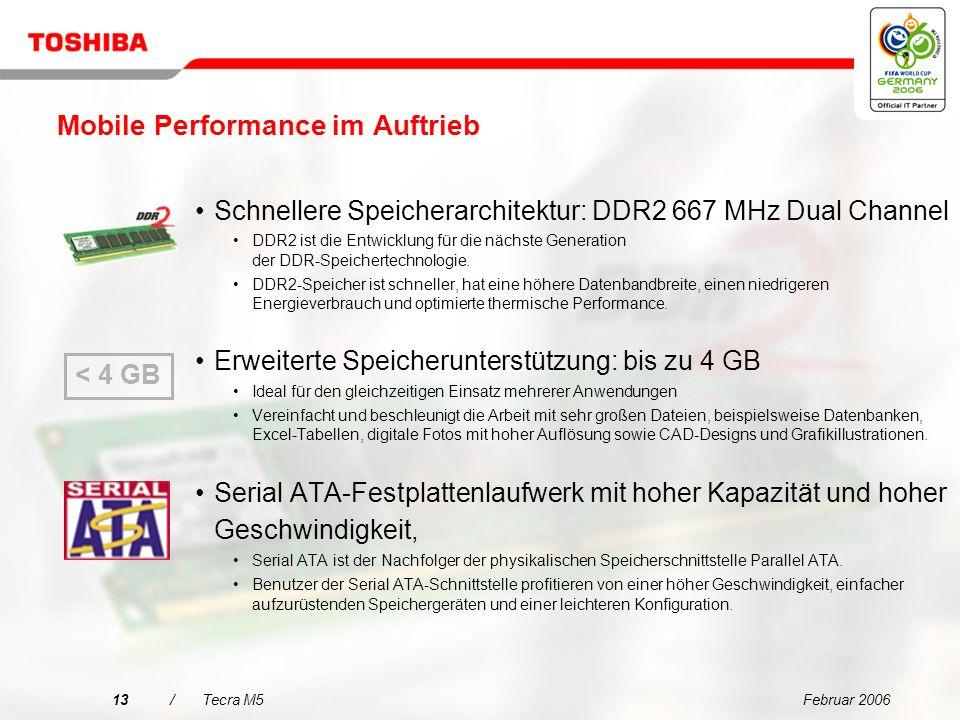 Februar 200612/Tecra M5 Mit einem NVIDIA Quadro NVS 110M-Grafikchipsatz Unternehmensauswahl für Multi Display-Grafiken Mit Single Display- und Dual Di