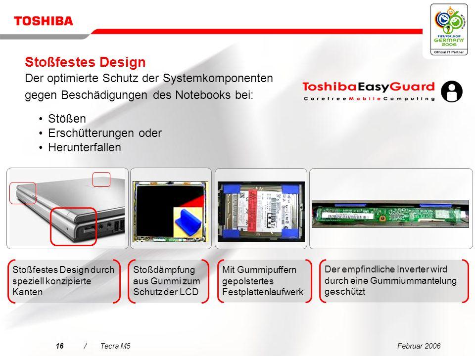 Februar 200615/Tecra M5 Toshiba Systemplatine mit Beschleunigungserfassung Kopf wird entlastet Längere Haltbarkeit der Festplatte Festplattenschutz (3