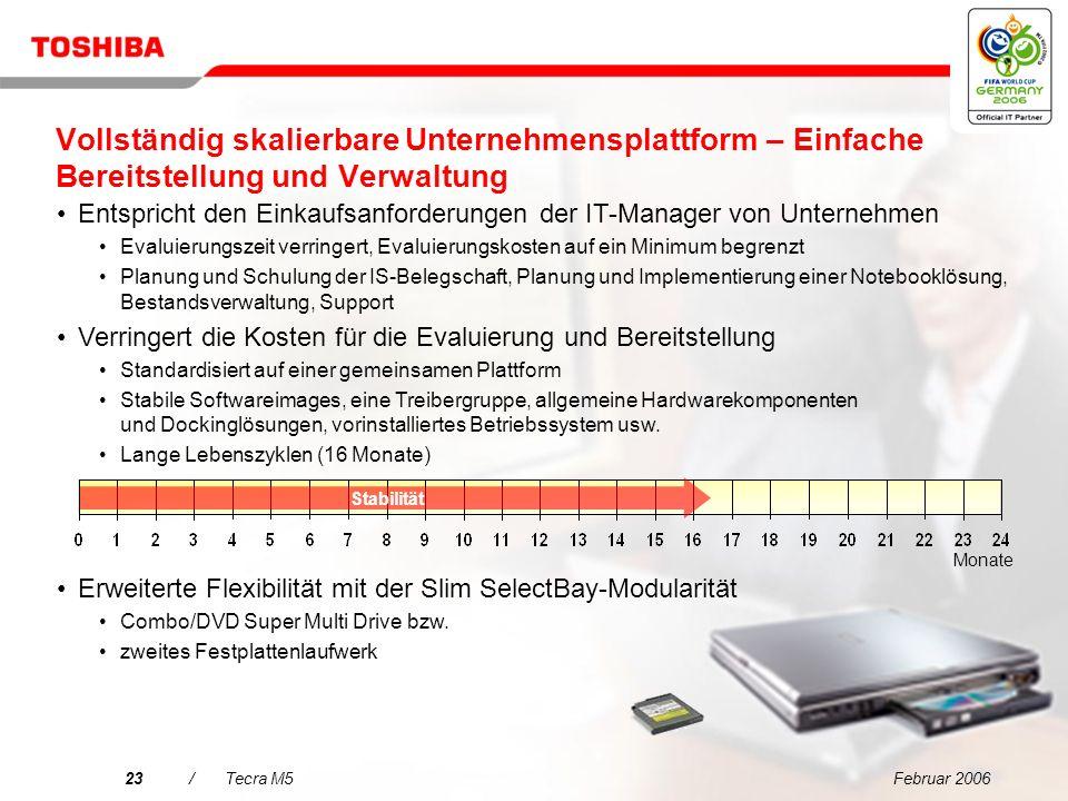 Februar 200622/Tecra M5 Entscheidungsmerkmale für den Tecra M5 Vereinfachte Konnektivität für jede Umgebung Extrem zuverlässiges mobiles Computing mit