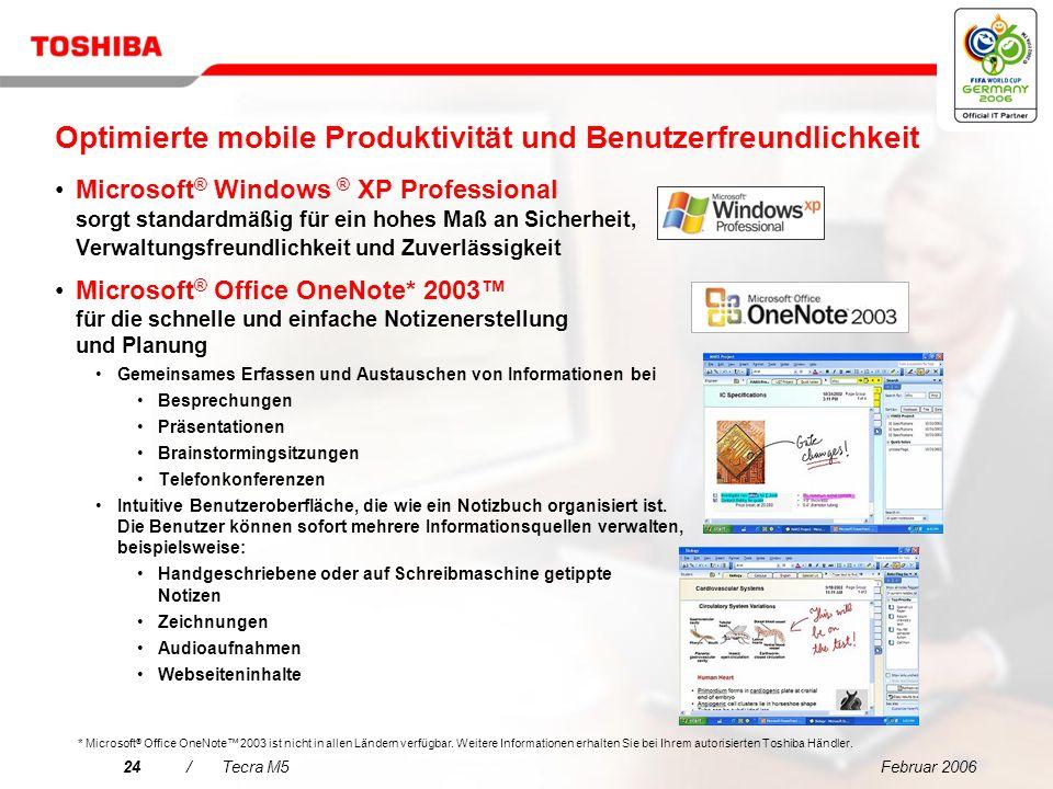 Februar 200623/Tecra M5 Vollständig skalierbare Unternehmensplattform – Einfache Bereitstellung und Verwaltung Entspricht den Einkaufsanforderungen de