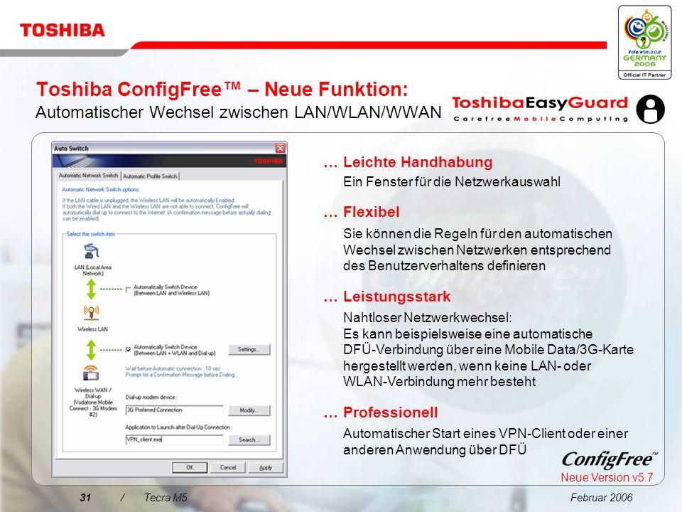 Februar 200630/Tecra M5 Toshiba ConfigFree Netzwerkverbindungen konnten noch nie so einfach ghs werden!... WiFi-Netzwerke werden über eine intuitive B