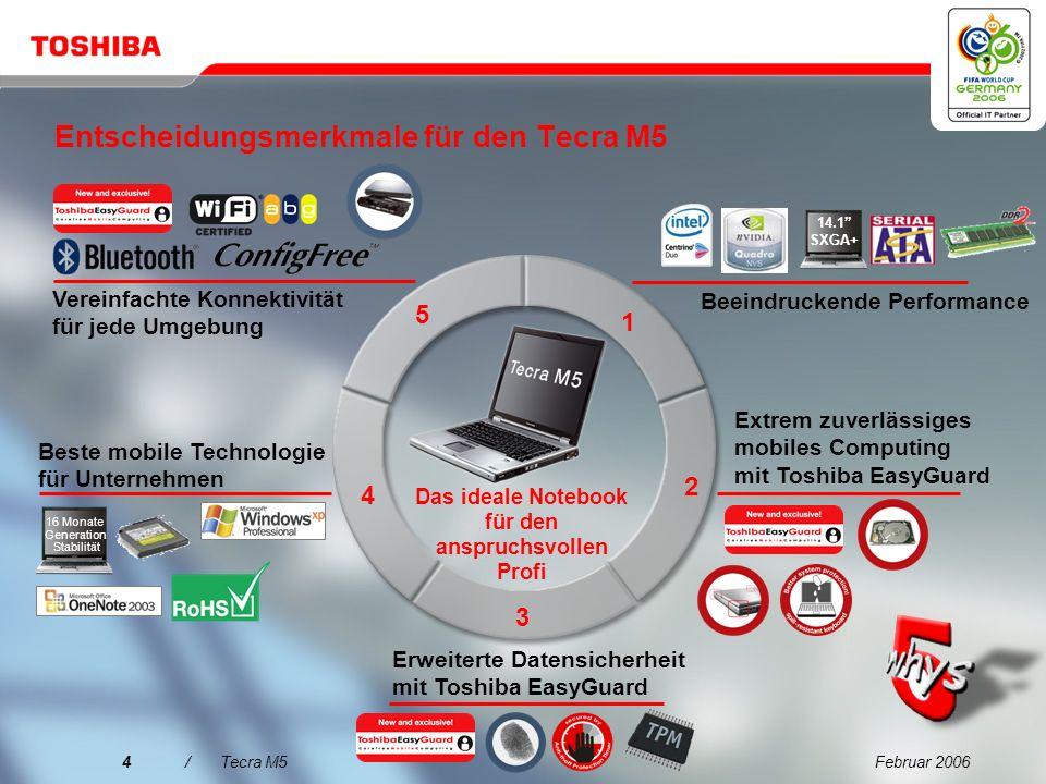 Februar 20064/Tecra M5 Entscheidungsmerkmale für den Tecra M5 Vereinfachte Konnektivität für jede Umgebung Extrem zuverlässiges mobiles Computing mit Toshiba EasyGuard Erweiterte Datensicherheit mit Toshiba EasyGuard Beste mobile Technologie für Unternehmen Beeindruckende Performance 14.1 SXGA+ 1 2 3 4 5 Das ideale Notebook für den anspruchsvollen Profi 16 Monate Generation Stabilität