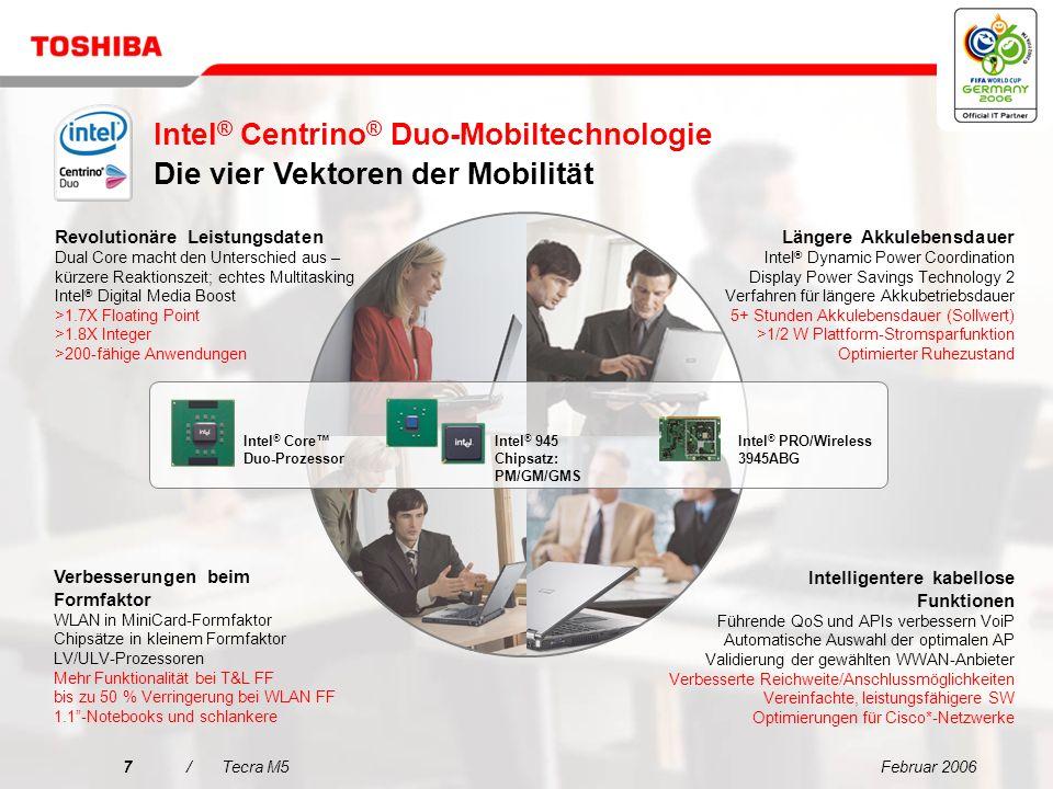 Februar 200627/Tecra M5 Entscheidungsmerkmale für den Tecra M5 Vereinfachte Konnektivität für jede Umgebung Extrem zuverlässiges mobiles Computing mit Toshiba EasyGuard Erweiterte Datensicherheit mit Toshiba EasyGuard Beste mobile Technologie für Unternehmen Beeindruckende Performance 1 2 3 4 5 Das ideale Notebook für den anspruchsvollen Profi