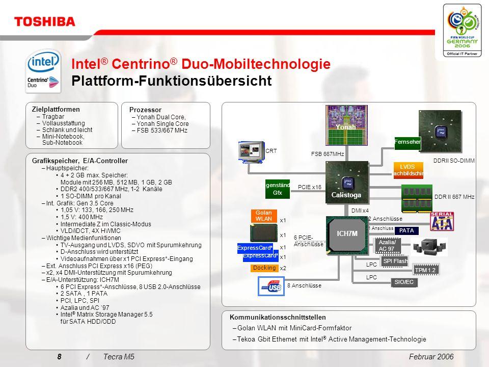 Februar 200618/Tecra M5 Entscheidungsmerkmale für den Tecra M5 Vereinfachte Konnektivität für jede Umgebung Extrem zuverlässiges mobiles Computing mit Toshiba EasyGuard Erweiterte Datensicherheit mit Toshiba EasyGuard Beste mobile Technologie für Unternehmen Beeindruckende Performance 1 2 3 4 5 Das ideale Notebook für den anspruchsvollen Profi