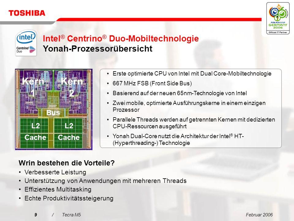 Februar 20069/Tecra M5 Bus L2 Cache L2 Cache Kern 1 Kern 2 Intel ® Centrino ® Duo-Mobiltechnologie Yonah-Prozessorübersicht L2 Cache L2 Cache Erste optimierte CPU von Intel mit Dual Core-Mobiltechnologie 667 MHz FSB (Front Side Bus) Basierend auf der neuen 65nm-Technologie von Intel Zwei mobile, optimierte Ausführungskerne in einem einzigen Prozessor Parallele Threads werden auf getrennten Kernen mit dedizierten CPU-Ressourcen ausgeführt Yonah Dual-Core nutzt die Architektur der Intel ® HT- (Hyperthreading-) Technologie Wrin bestehen die Vorteile.