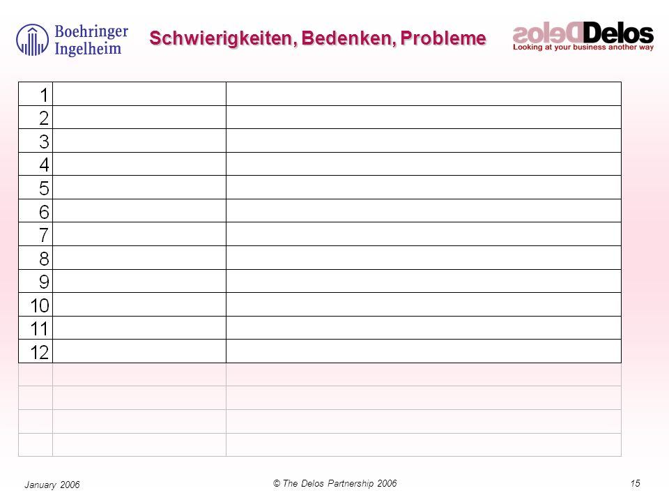 15© The Delos Partnership 2006 January 2006 Schwierigkeiten, Bedenken, Probleme