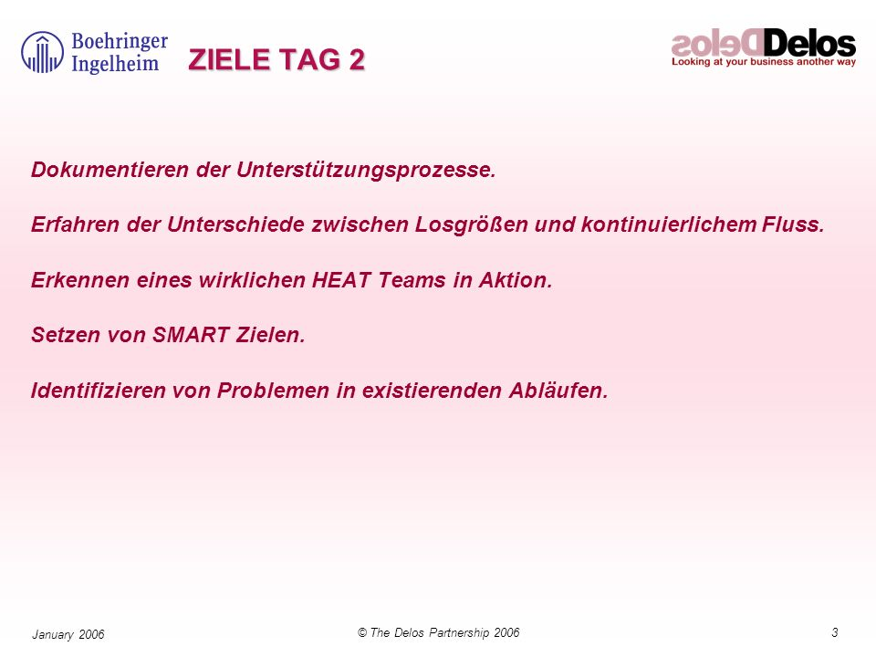34© The Delos Partnership 2006 January 2006 Leistungsfähigkeit – Right every time (Jederzeit Korrekt) Prozessqualität: Spezialist Quality Control (e.g.