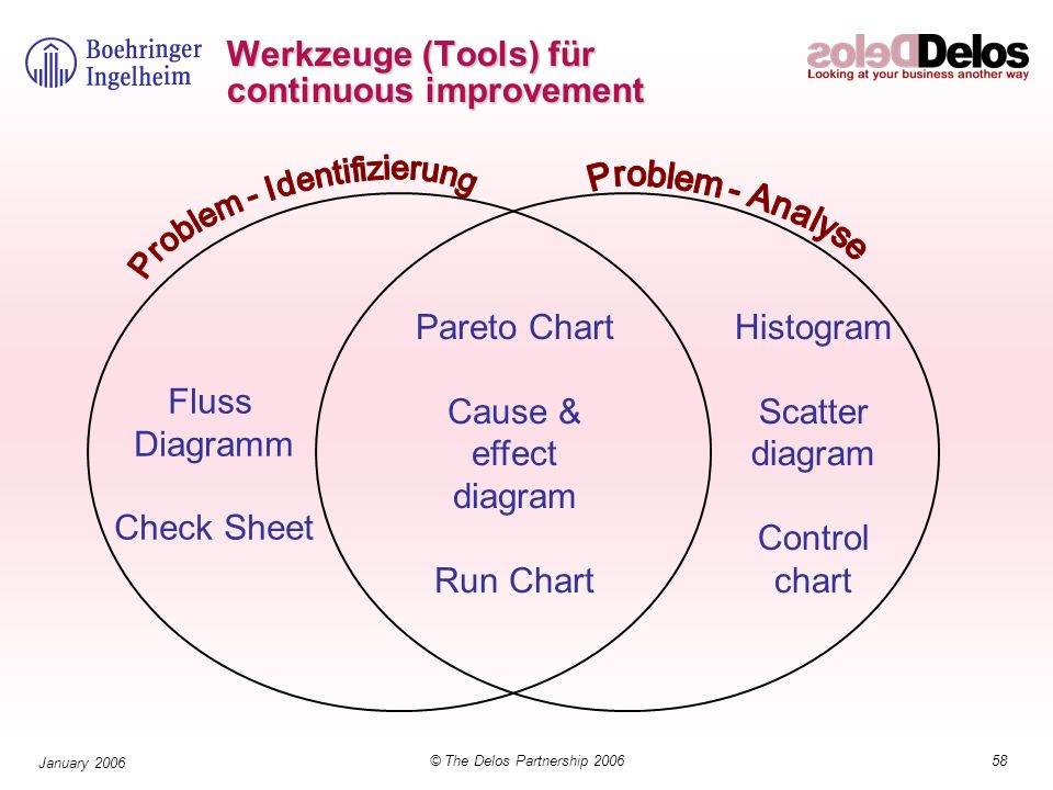 58© The Delos Partnership 2006 January 2006 Werkzeuge (Tools) für continuous improvement Fluss Diagramm Check Sheet Pareto Chart Cause & effect diagram Run Chart Histogram Scatter diagram Control chart