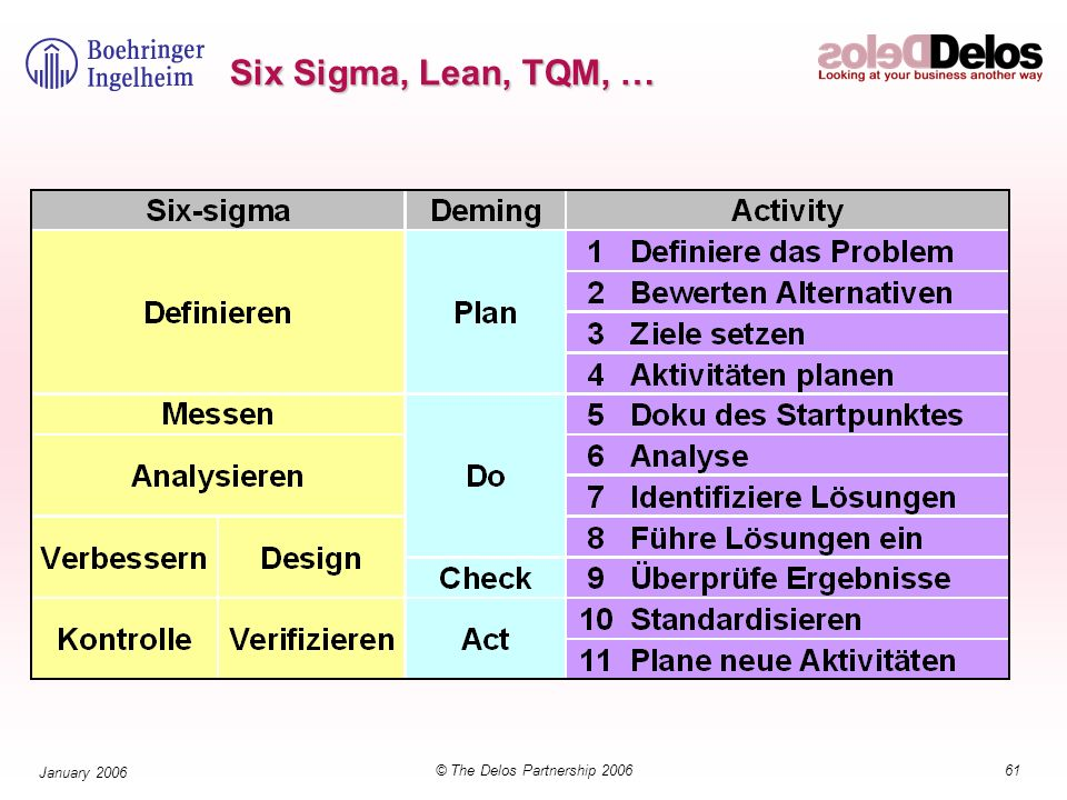 61© The Delos Partnership 2006 January 2006 Six Sigma, Lean, TQM, …