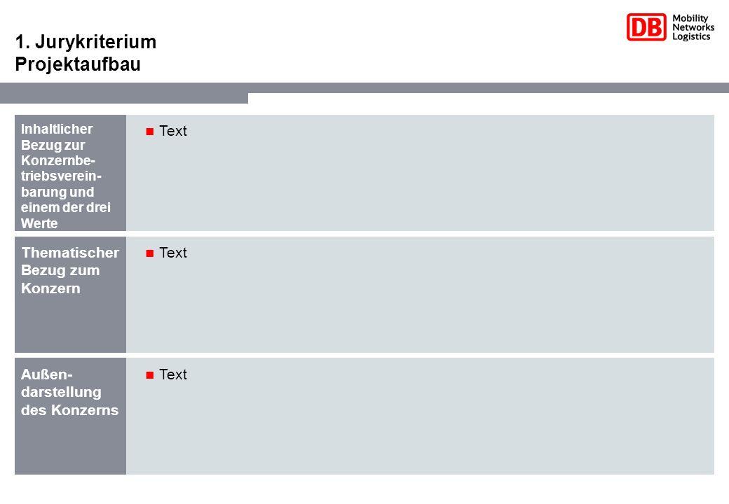1. Jurykriterium Projektaufbau Inhaltlicher Bezug zur Konzernbe- triebsverein- barung und einem der drei Werte Text Thematischer Bezug zum Konzern Tex
