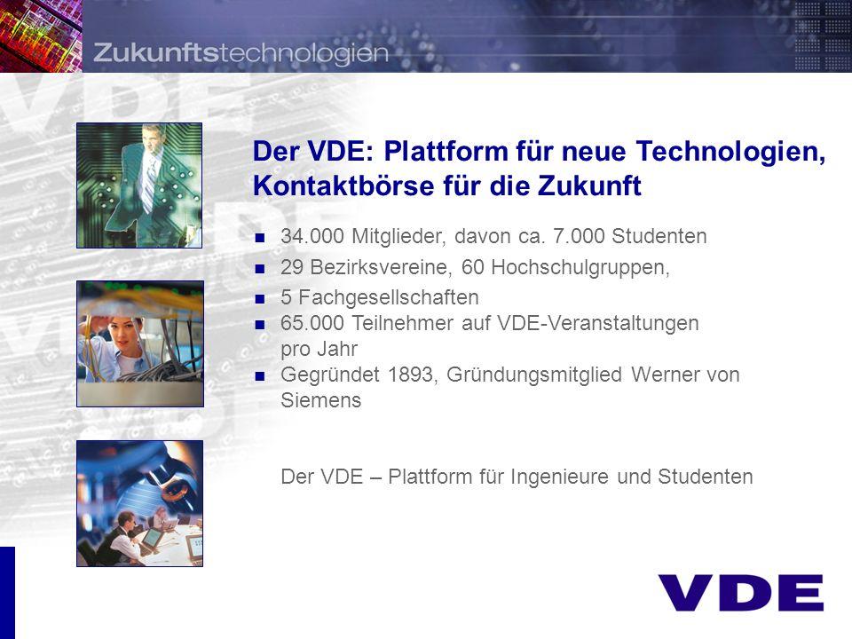 Der VDE: Plattform für neue Technologien, Kontaktbörse für die Zukunft 34.000 Mitglieder, davon ca.
