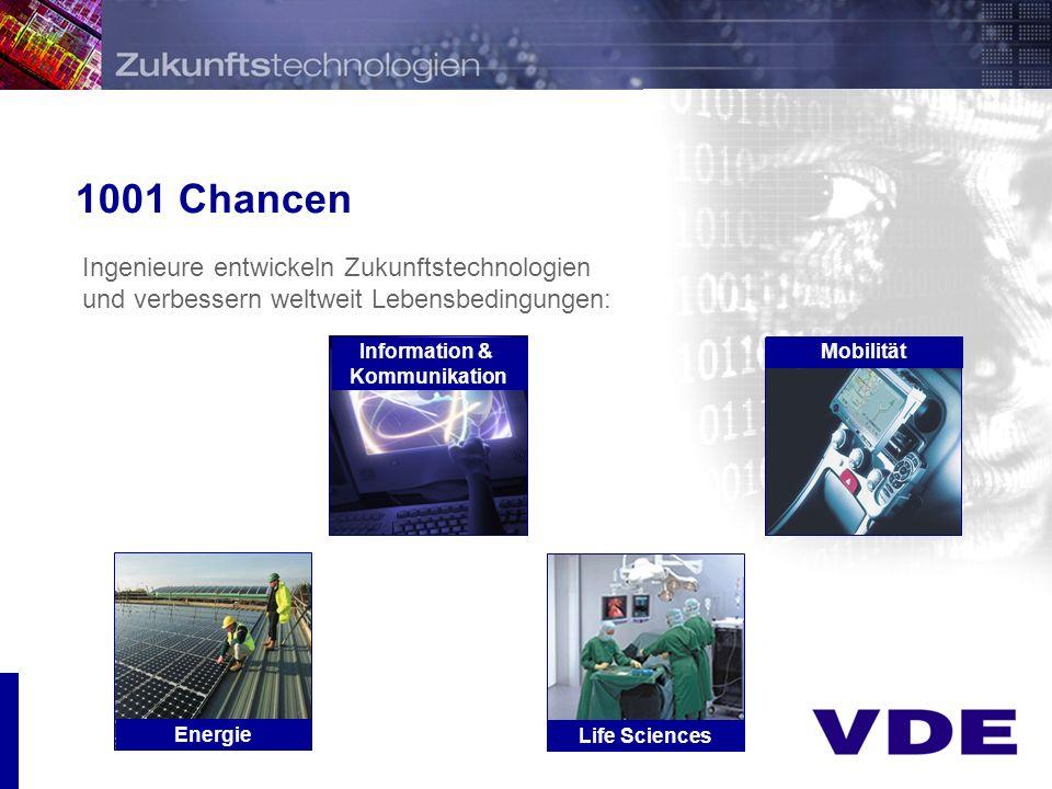Präsentation 1001 Chancen Ingenieure entwickeln Zukunftstechnologien und verbessern weltweit Lebensbedingungen: Energie Information & Kommunikation Life Sciences Mobilität