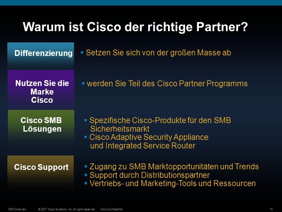 © 2007 Cisco Systems, Inc. All rights reserved.Cisco ConfidentialSDN Overview14 Warum ist Cisco der richtige Partner? Differenzierung Setzen Sie sich