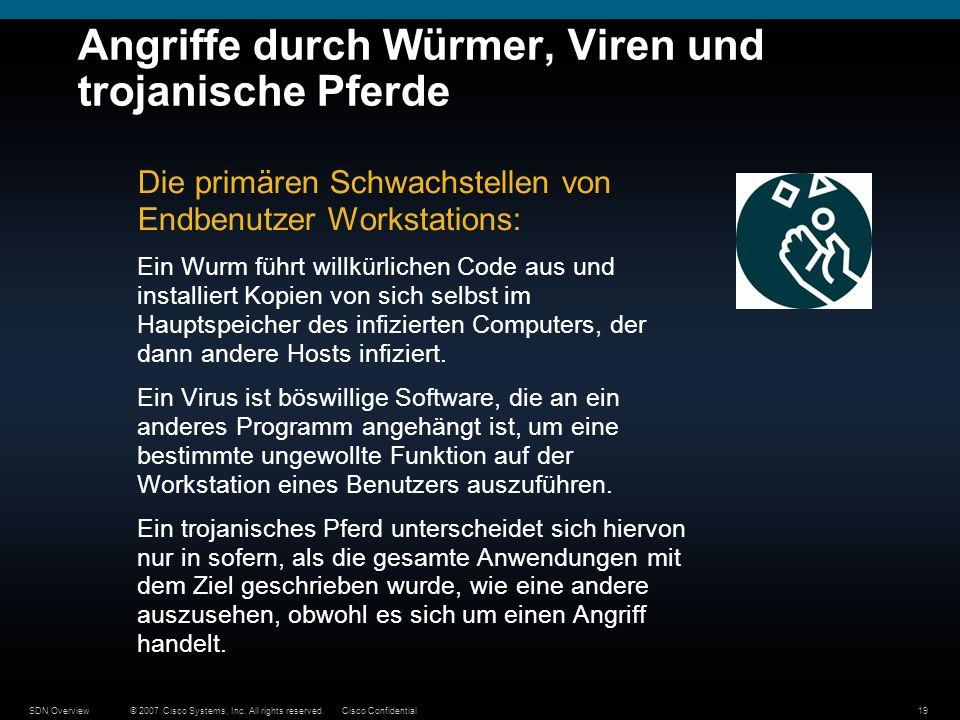 © 2007 Cisco Systems, Inc. All rights reserved.Cisco ConfidentialSDN Overview19 Angriffe durch Würmer, Viren und trojanische Pferde Die primären Schwa
