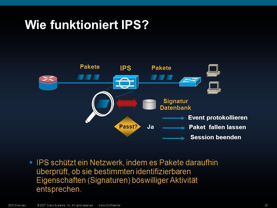 © 2007 Cisco Systems, Inc. All rights reserved.Cisco ConfidentialSDN Overview26 Wie funktioniert IPS? IPS schützt ein Netzwerk, indem es Pakete darauf