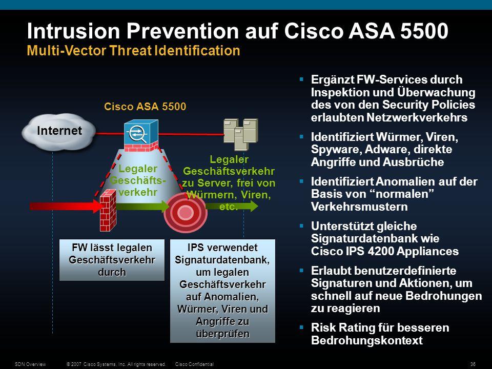 © 2007 Cisco Systems, Inc. All rights reserved.Cisco ConfidentialSDN Overview36 Ergänzt FW-Services durch Inspektion und Überwachung des von den Secur