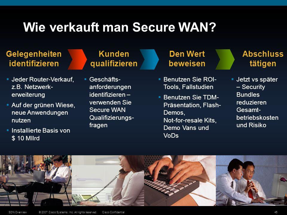 © 2007 Cisco Systems, Inc. All rights reserved.Cisco ConfidentialSDN Overview45 Wie verkauft man Secure WAN? Jeder Router-Verkauf, z.B. Netzwerk- erwe