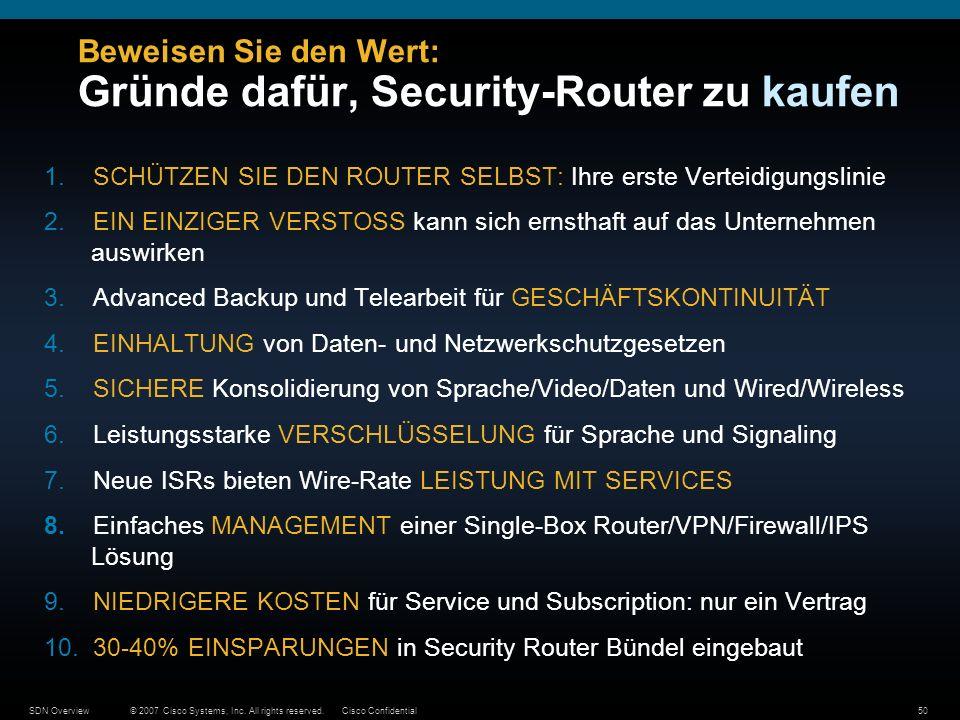 © 2007 Cisco Systems, Inc. All rights reserved.Cisco ConfidentialSDN Overview50 Beweisen Sie den Wert: Gründe dafür, Security-Router zu kaufen 1.SCHÜT