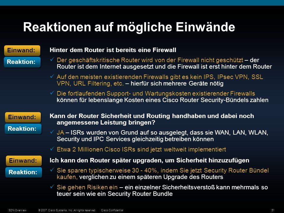© 2007 Cisco Systems, Inc. All rights reserved.Cisco ConfidentialSDN Overview51 Reaktionen auf mögliche Einwände Hinter dem Router ist bereits eine Fi