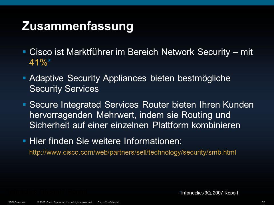 © 2007 Cisco Systems, Inc. All rights reserved.Cisco ConfidentialSDN Overview52 Zusammenfassung Cisco ist Marktführer im Bereich Network Security – mi