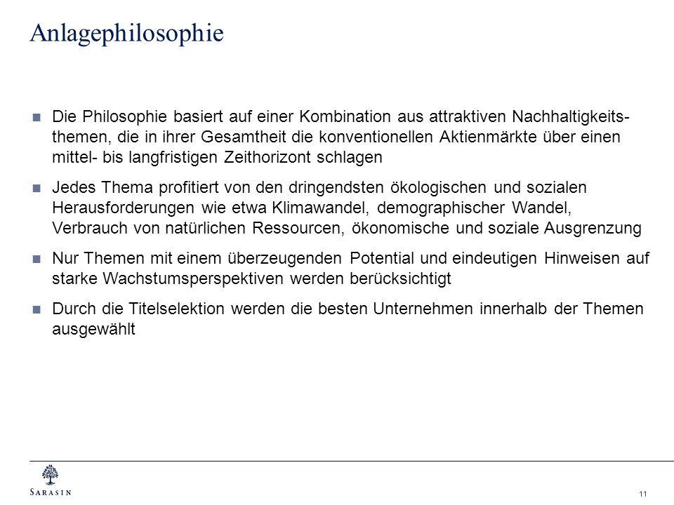 11 Anlagephilosophie Die Philosophie basiert auf einer Kombination aus attraktiven Nachhaltigkeits- themen, die in ihrer Gesamtheit die konventionelle