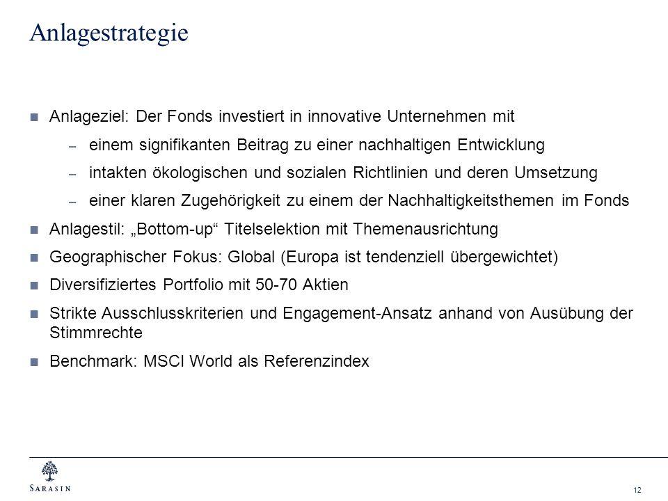 12 Anlagestrategie Anlageziel: Der Fonds investiert in innovative Unternehmen mit – einem signifikanten Beitrag zu einer nachhaltigen Entwicklung – in