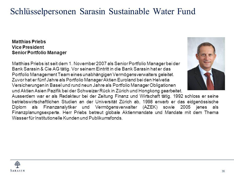 35 Schlüsselpersonen Sarasin Sustainable Water Fund Matthias Priebs Vice President Senior Portfolio Manager Matthias Priebs ist seit dem 1. November 2