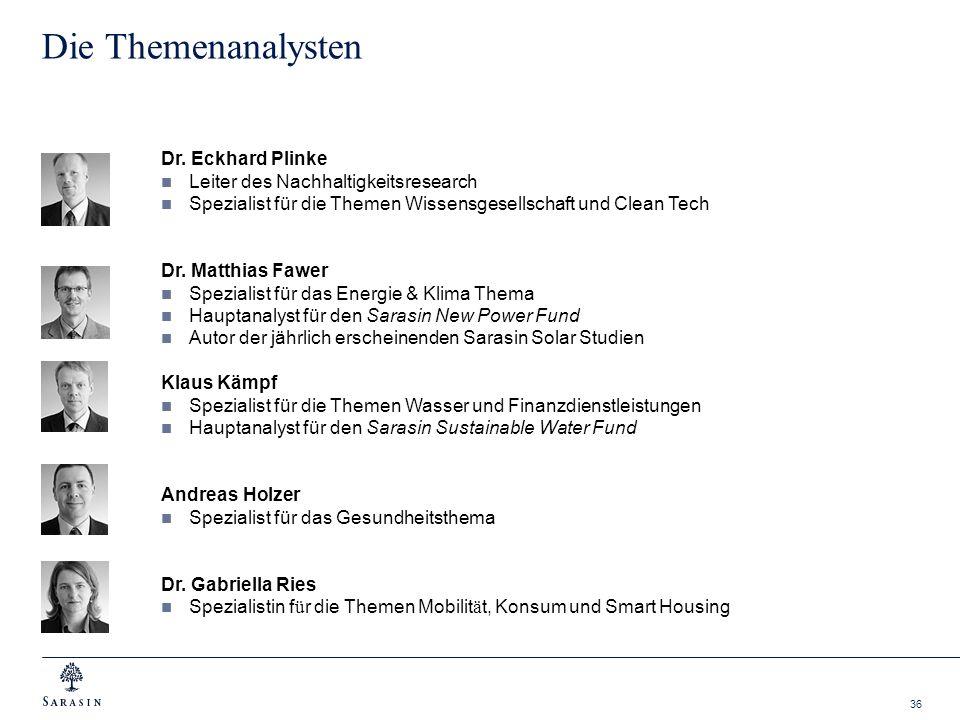 36 Die Themenanalysten Dr. Eckhard Plinke Leiter des Nachhaltigkeitsresearch Spezialist für die Themen Wissensgesellschaft und Clean Tech Dr. Matthias