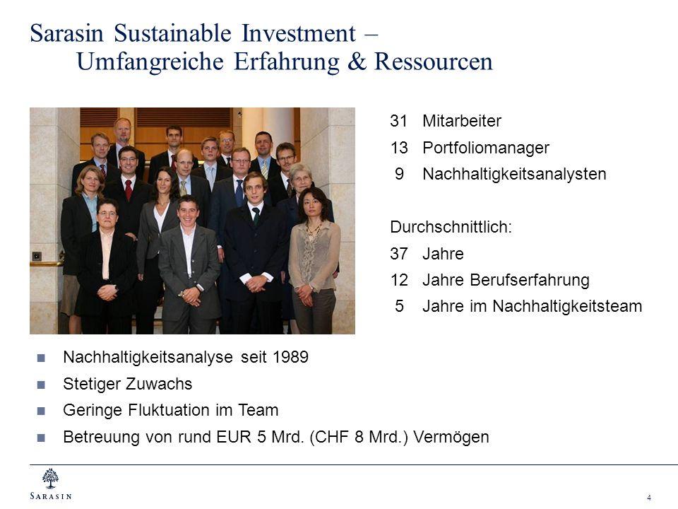 4 Sarasin Sustainable Investment – Umfangreiche Erfahrung & Ressourcen 31Mitarbeiter 13Portfoliomanager 9Nachhaltigkeitsanalysten Durchschnittlich: 37