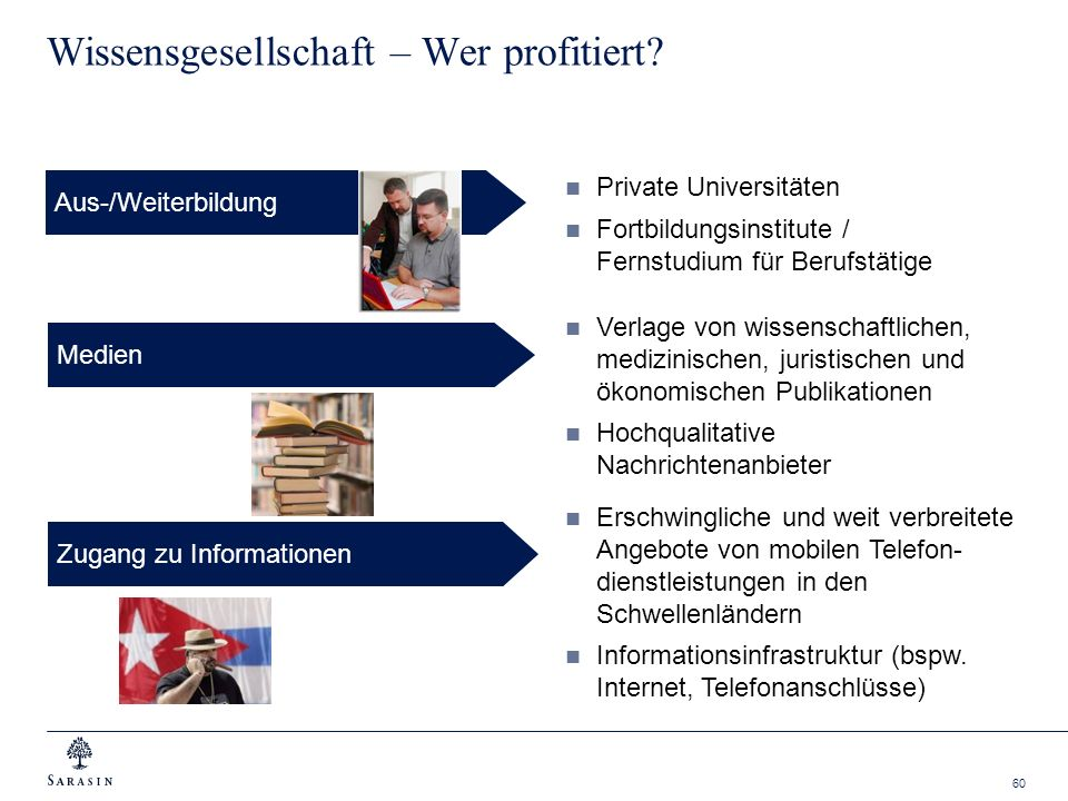 60 Wissensgesellschaft – Wer profitiert? Aus-/Weiterbildung Verlage von wissenschaftlichen, medizinischen, juristischen und ökonomischen Publikationen
