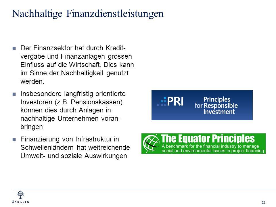 62 Nachhaltige Finanzdienstleistungen Der Finanzsektor hat durch Kredit- vergabe und Finanzanlagen grossen Einfluss auf die Wirtschaft. Dies kann im S