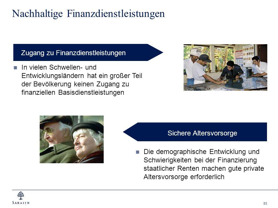63 Nachhaltige Finanzdienstleistungen Zugang zu Finanzdienstleistungen In vielen Schwellen- und Entwicklungsländern hat ein großer Teil der Bevölkerun