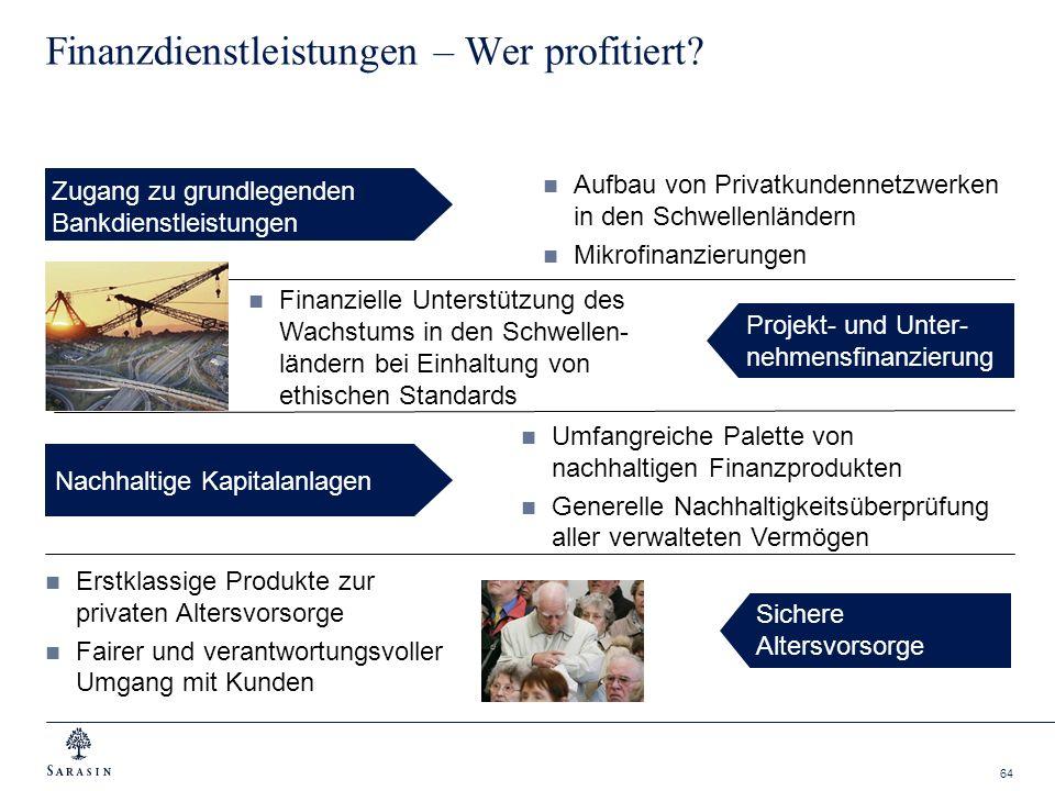 64 Finanzdienstleistungen – Wer profitiert? Sichere Altersvorsorge Nachhaltige Kapitalanlagen Zugang zu grundlegenden Bankdienstleistungen Projekt- un