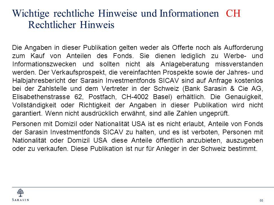 66 Wichtige rechtliche Hinweise und Informationen CH Rechtlicher Hinweis Die Angaben in dieser Publikation gelten weder als Offerte noch als Aufforder