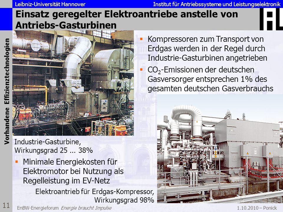 Leibniz-Universität Hannover Institut für Antriebssysteme und Leistungselektronik 1.10.2010 – Ponick 11 EnBW-Energieforum Energie braucht Impulse Eins