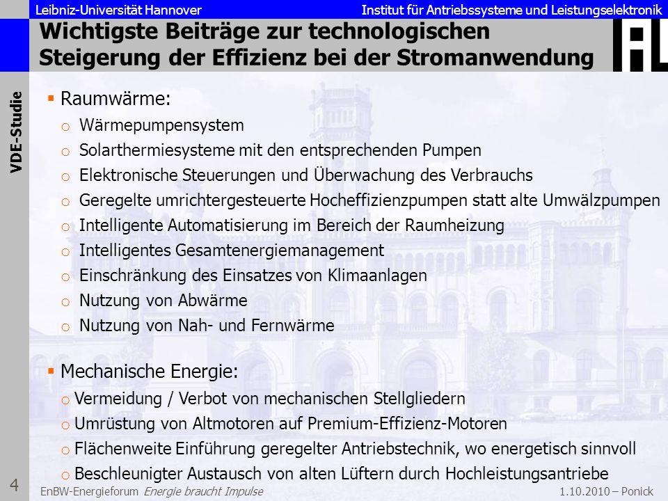 Leibniz-Universität Hannover Institut für Antriebssysteme und Leistungselektronik 1.10.2010 – Ponick 15 EnBW-Energieforum Energie braucht Impulse Fazit Der Druck zur Erhöhung der Energieeffizienz durch Gesetze und Vorschriften wird nicht sinken Umgehung von Vorschriften ist möglich, aber oft unwirtschaftlich Energieeffizienztechnologien sind bereits heute in vielen Bereichen der Energienutzung verfügbar und oft bereits wirtschaftlich Größtes Hemmnis für deren Einführung ist in Firmen oft eine organisationsbedingte Teiloptimierung, die die Umsetzung der betriebswirtschaftlich günstigsten Lösung behindert Zusammenfassung