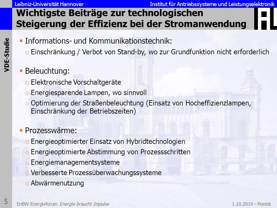 Leibniz-Universität Hannover Institut für Antriebssysteme und Leistungselektronik 1.10.2010 – Ponick 6 EnBW-Energieforum Energie braucht Impulse Konkrete Verordnungen auf Basis der EUP-Richtlinie (Energy Using Products) der EU, beispielsweise: Schrittweises Verbot herkömmlicher Glühlampen Verpflichtender Einsatz von Energiesparmotoren Neue Vorschriften des Gesetzgebers Ziele und Rahmenbedingungen