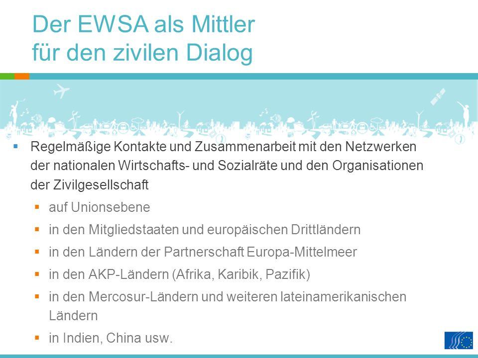 Der EWSA als Mittler für den zivilen Dialog Regelmäßige Kontakte und Zusammenarbeit mit den Netzwerken der nationalen Wirtschafts- und Sozialräte und den Organisationen der Zivilgesellschaft auf Unionsebene in den Mitgliedstaaten und europäischen Drittländern in den Ländern der Partnerschaft Europa-Mittelmeer in den AKP-Ländern (Afrika, Karibik, Pazifik) in den Mercosur-Ländern und weiteren lateinamerikanischen Ländern in Indien, China usw.